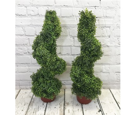 Pair of Leaf Effect Artificial Topiary Swirl Shaped Trees (80cm)