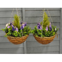 Set of 2 x Artificial Lavender & Eucalyptus Topiary Hanging Baskets (25cm)