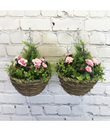 Set of 2 x Artificial Azalea Topiary Hanging Baskets (25cm)