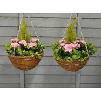 Factory Second - Set of 2 x Artificial Azalea Topiary Hanging Baskets (25cm)