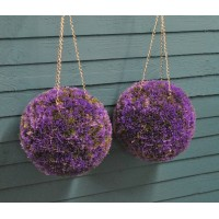 Set of 2 Purple Heather Effect Artificial Topiary Balls (26cm)