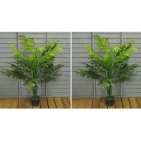 Set of 2 Artificial Topiary Palm Trees (125cm)