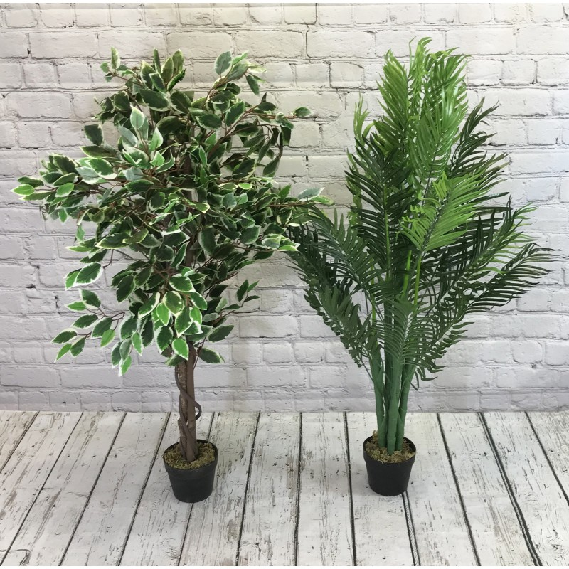 Artificial Palm And Ficus Tree Pair (125cm)