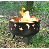 Star and Moon Fire Bowl with BBQ Grill, Safety Guard and Poker