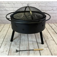 Star and Moon Fire Bowl with Grill, Safety Guard and Poker