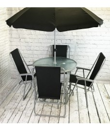 Tresco 6 Piece Garden Furniture Set with Folding Chairs