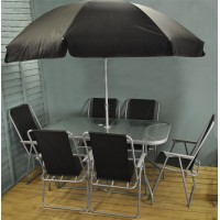 Factory Second - 8 Piece Garden Furniture Set with Glass Top & Folding Chairs