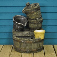 Cascading Barrels Fountain Outdoor Water Feature by Gardman