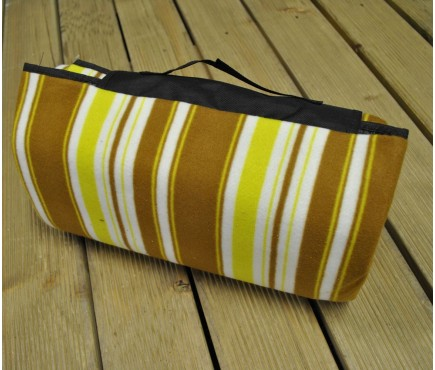 Set of 20 Picnic Blanket with Brown, White and Yellow Stripes (200cm x 150cm)