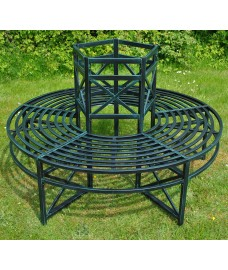 Green Circular Metal Tree Bench