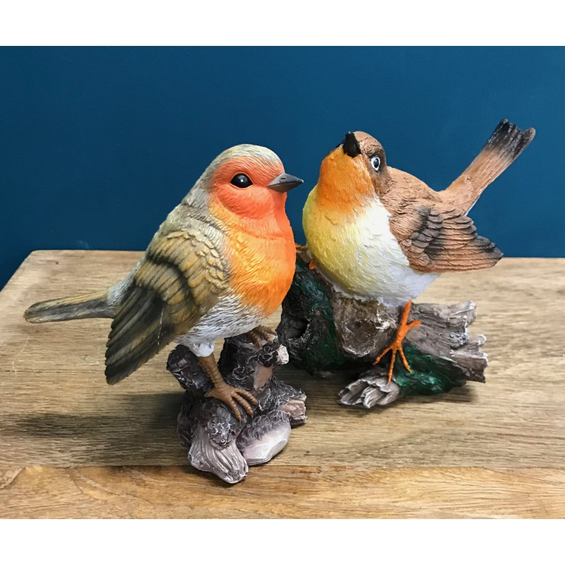 Set of 2 Resin Robins On Branches Garden Ornaments