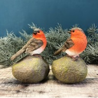 Robin on a Stone Resin Garden Ornaments (Set of 2)