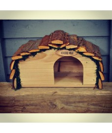 Wooden Hedgehog House Hogitat With Bark Roof