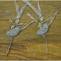 Set of 2 Clear Acrylic Ballet Dancer Christmas Tree Decorations by Premier