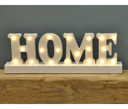 Home Wooden LED Light Up Sign by Premier