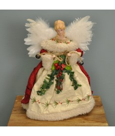 Fairy Christmas Tree Topper With Feather Wings (Red & White Dress) by Premier