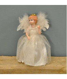 Fairy Christmas Tree Topper With Feather Wings (White Dress) by Premier