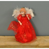 Fairy Christmas Tree Topper With Feather Wings (Red Dress) by Premier