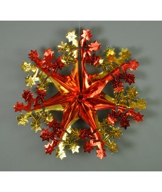 Red and Gold Christmas Foil Hanging Snowflake Decoration (Set of 3) by Premier