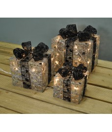 Set of 3 Light Up Silver Christmas Gift Boxes (Mains) by Premier