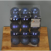 Midnight Blue Decorated 6cm Bauble Decorations (Set of 24) by Premier
