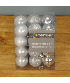 Silver Decorated 3cm Bauble Decorations (Set of 24) by Premier