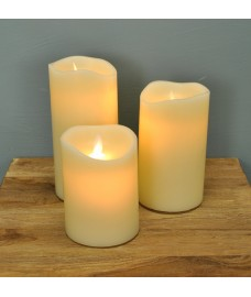 Battery Operated LED Dancing Flame Candles (Set of 3) by Premier