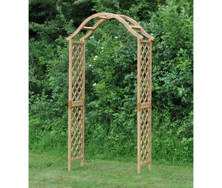 Wooden Garden Arch with Curved Top (Tan)