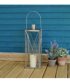 Large Silver Stainless Steel Candle Lantern by Fallen Fruits