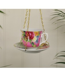 Vintage Hanging Floral China Teacup Bird Feeder by Fallen Fruits