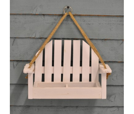 White Bench Shaped Hanging Bird Feeder by Kingfisher