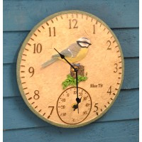 Blue Tit Wall Clock & Thermometer by Smart Garden