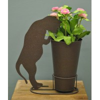 Silhouette Cat Standing Pot Holder with Pot by Rustic