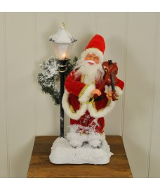 Animated Father Christmas Santa Figure with Violin - 46cm