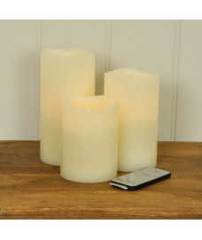 Battery Operated Remote Control Flicker Flame LED Candles (Set of 3) by Gardman
