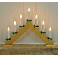 Wooden Christmas Candle Bridge Light (Mains Powered) by Premier