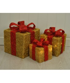 Set of 3 LED Light Up Gold Christmas Gift Boxes