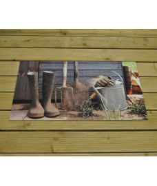 Printed Garden Shed Picture Rubber Doormat by Fallen Fruits