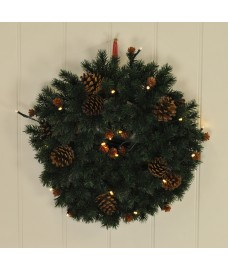 Pine & Cones 38cm Christmas Wreath with 20 LED Lights