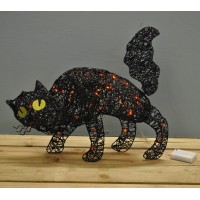 Linen Halloween Cat Decoration with Lights by Premier