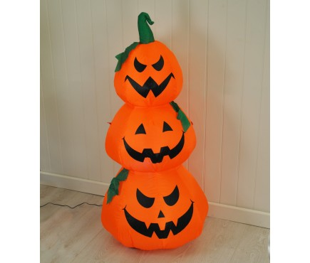 Inflatable Pre-Lit Three Pumpkin Halloween Decoration (Mains)
