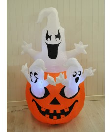 Inflatable Pre-Lit Pumpkin and Ghosts Halloween Decoration (Mains) by Premier