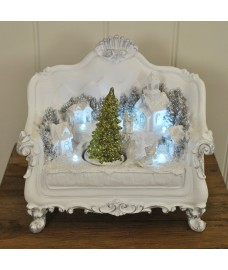 Kingfisher Christmas Tree Scene on Two-seat Sofa Decoration