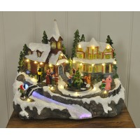 Christmas Scene Ornament with Sound, LED & Fibre Optic Lights