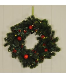Apple & Holly 56cm Christmas Wreath with LED Lights
