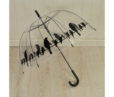 Transparent Umbrella with Birds Design by Fallen Fruits