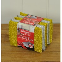 Kitchen Metallic Sponge Scourer Cleaning Pads by Kingfisher