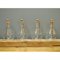 Set of 4 x Large Glass Bulb Shaped Candle Holders by Kingfisher