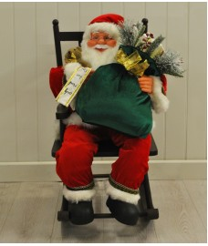 Traditional Santa Claus in Rocking Chair Figurine Decoration