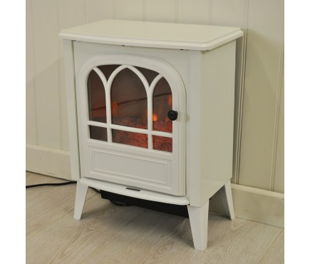 1800 Watt Cast Iron Effect Electric Stove Heater in White by Kingfisher